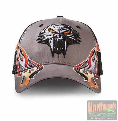 Arctic Cat Cathead & Flames Adjustable Hat Cap w/  Mesh - Gray - Black 5253-140