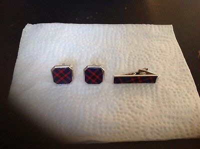 Set Of Vintage Tie Clip And Cufflinks