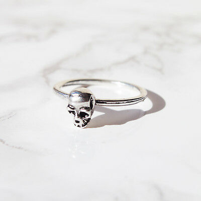 Skull Head Stacking Silver Band Finger Ring. Boho Punk Goth Vintage Jewellery