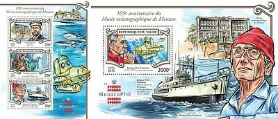 Z08 NIG15323ab NIGER 2015 Jacques-Yves Cousteau MNH ** Postfrisch SET