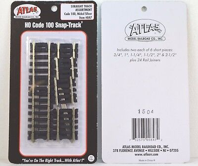 Atlas Code 100 Straight Track Assortment (12 pieces) Nickel Silver NEW ATL847