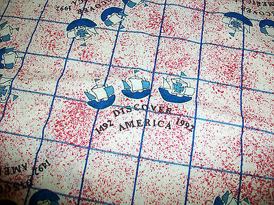 Columbus Ships Discover America Cotton Quilt Fabric