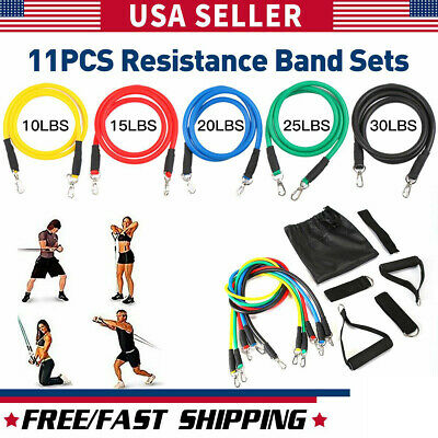 11 PCS Set Resistance Bands Yoga Pilates Abs Exercise Fitness Tube Workout Bands