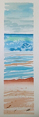 HAND painted WATERCOLOUR artist PICTURE card OCEAN sea WAVEs ART pastels NATURE
