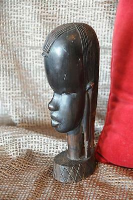 Old African Carved Hardwood Female Bust…  wonderful detail...