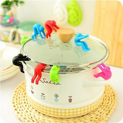 New Lid Keep Pot Pan Cover Open Steam Anti Spill Holder Cell Phone Stand Rack N7