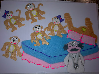 Felt Board Story Rhyme Teacher Resource - 5 Cheeky Monkeys Jumping On The Bed