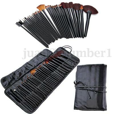 Set 32pz Pennelli Professionali Trucco Make Up Cosmetici Brush Nero con Custodia