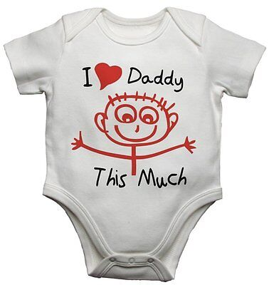 I Love Daddy This Much New Personalized Twin Baby Bodysuits Cotton Set Unisex