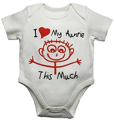 I Love My Auntie This Much Funny Personalised Baby Vest Bodysuit Baby Grow
