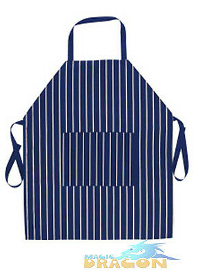 Cotton Apron Cooks Chefs Butchers BBQ Navy and White Stripes with Pocket Probus