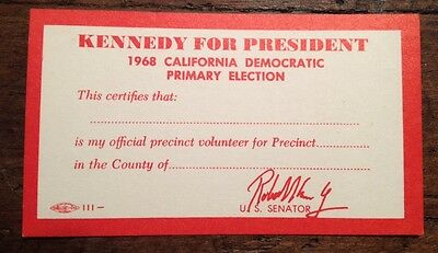 Vintage 1968 Robert Kennedy Presidential Democratic Primary Election Card.Nice!