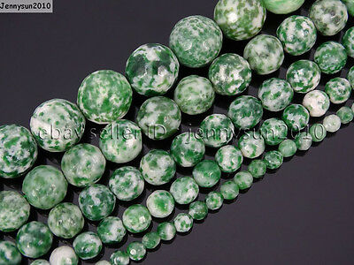 Natural Green Spot Jasper Gemstone Faceted Round Beads 15.5'' 4mm 6mm 8mm 10mm