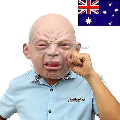Realistic Cry Baby Face Head Full Latex Halloween Mask Creepy Party Costume