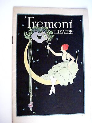 """Vintage 1921 """"Tremont Theatre Program"""" w/ Pretty Cover of Woman Sitting on Moon*"""