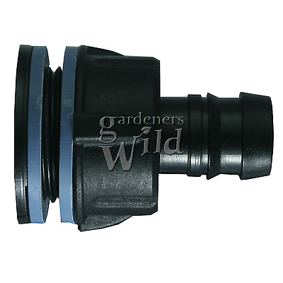 TANK CONNECTOR 19mm bulkhead irrigation pipe fitting hydroponic water butt pond