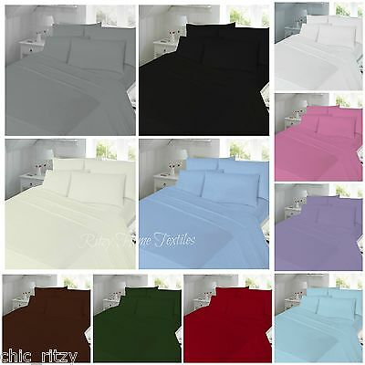 Luxury Fitted Flat Sheet Pillowcase Percale Deep Cotton Single Double King Super