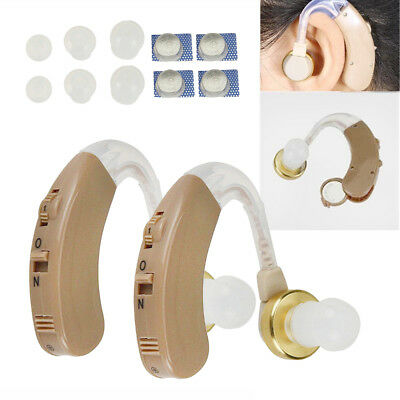 2PCS of Digital Hearing Aid Aids Kit Behind the Ear BTE Sound Voice Amplifier