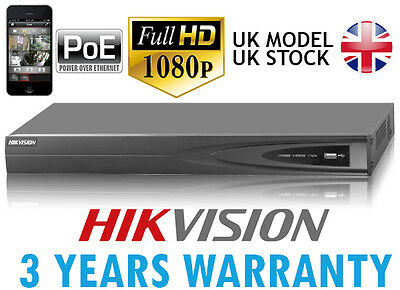 HIKVISION 8 CHANNEL 8CH PoE NVR P2P 1080P ONVIF HD CCTV NETWORK VIDEO RECORDER