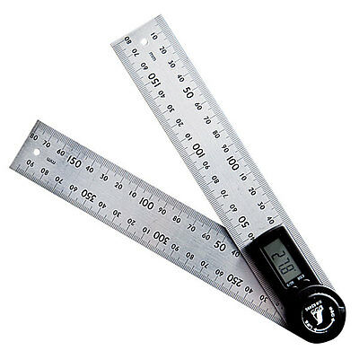 SHINWA Digital Stainless Steel Protractor Ruler 20cm with Hold Function for Work