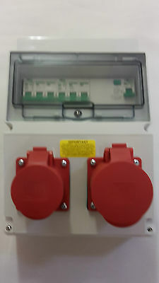 3 phase 16A&32A 5 Pin RCD Industrial red CEE Socket. Wall mounted distro board.