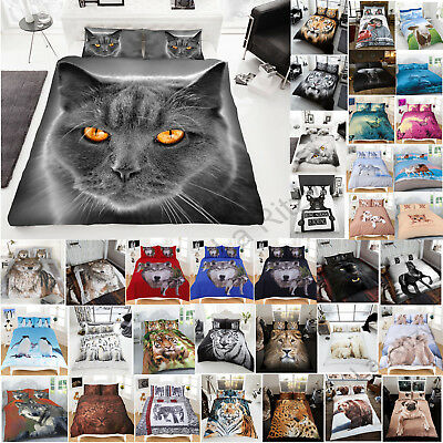 New Duvet Cover Set Animal Print Bedding Pillow Case King Double Single Size