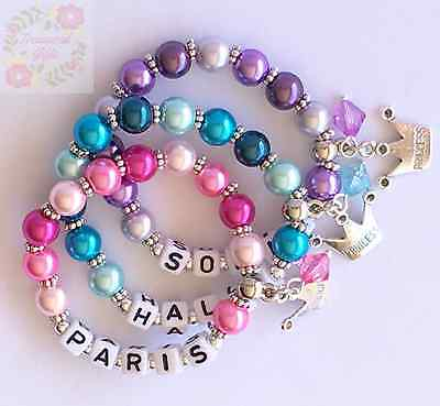 Personalised Princess Child Adult Name Bracelet Crown Charm, Gift Party Favour