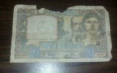 1941 France 20 francs banknote circulated
