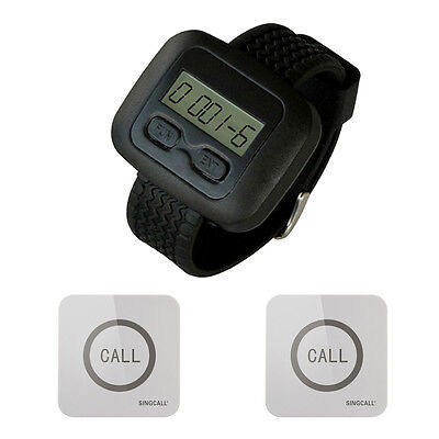SINGCALL Wireless Service Calling Pager System 1 Watch with 2 Touchable Bells