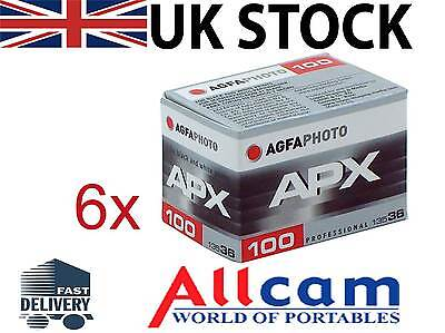 6 Pack: Agfa APX 100 135-36 Professional B&W Film ( ISO100, 36 exp, 35mm)