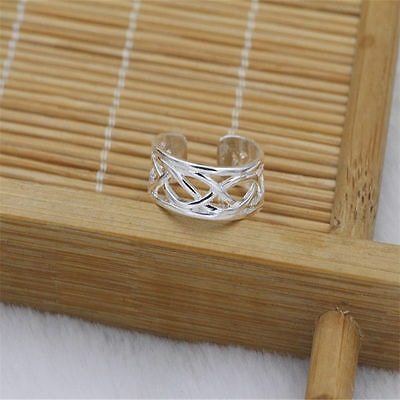 New 925 Sterling Silver  Plated Cross Wire Adjustable Toe Ring Foot Jewelry UK