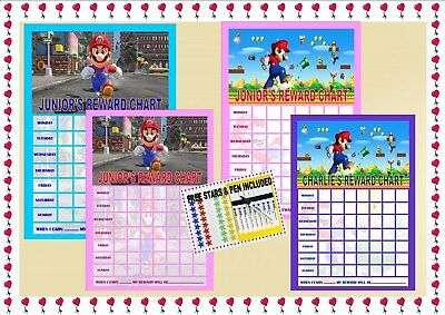 Super Mario Behaviour Reward Chart Re-usable (inc FREE Star Stickers and Pen)