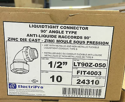 "ElectriPro Liquidtight Connector 90 degree Angle 1/2"" Type B"