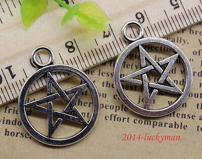 Lot 10/30/100pcs retro Jewelry Making DIY pentagram alloy charms pendant 26x21mm