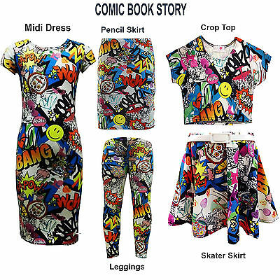 Girls Comic Graffiti Print Midi Dress Crop Top  Legging Fashion Outfit 7-13