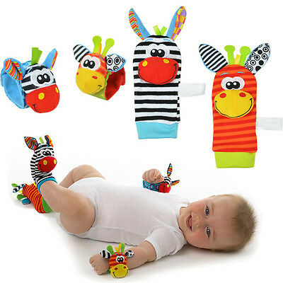 Animal Baby Infant Soft Hand Wrist Band Foot Socks Rattles Developmental Toy Hot