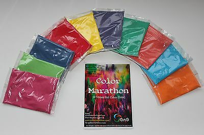 Color Marathon #HOLI #Color run #Color POWDER - 10 COLORS 10 X 50g Pks + 1 bonus