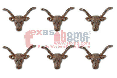 6 Small Cast Iron Longhorn Steer Hook Rustic Coat Hanger Key Holder Drawer Pull