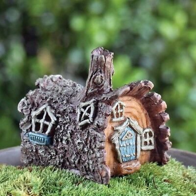 "2.25"" My Fairy Gardens Tiny Tree Log House - Resin Micro Mini Miniature Figurine"