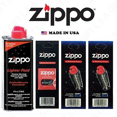 Zippo 4oz Fuel Fluid 12 Flints and 1 Wick Value pack Combo