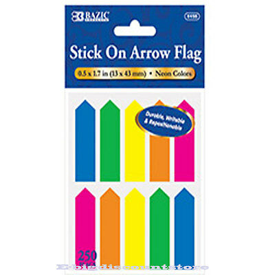 NEON Color Stick On Flags Arrow Page Marker Index Tab Bookmark 250 sheets