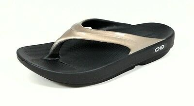 OOFOS OOlala Women's Flip Flop Thong Sandal Black & Latte Comfort Recovery 1400