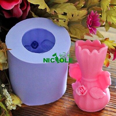 Nicole 3D Flower Vase Shaped Decorative Soap Candle Silicone Molds Resin Crafts