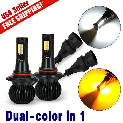 2x 9005 9006 White+Yellow dual color 12SMD 3030 LED Fog Driving light bulbs