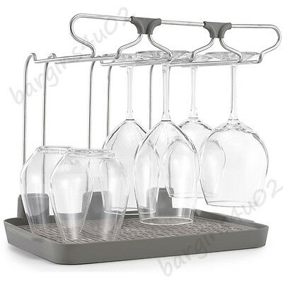 Wine Glass Drying Rack Polder Glassware Holder Storage Tray with Rubber Mat New
