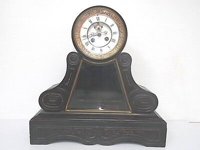 19Th C. French Antique Black Slate Mantel Clock