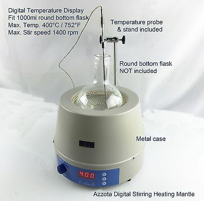 Azzota Digital Stirring Heating Mantle with temp Probe 1000ml, 350W, Max 450C