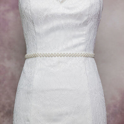 S34 Handmade Elegant Pearls Beaded Waistband Belt Wedding Dress Belt Bridal Sash