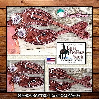 Western Show Spur Straps ~High Quality Leather Stunning~Rose Pink/silver Conchos