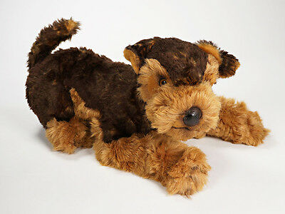 Plush Airedale Terrier Puppy by Piutre, Stuffed Animal Dog, Hand Made in Italy